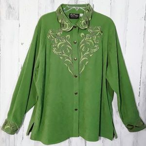 Bob Mackie Wearable Art Shirt 1X Embroidery Green